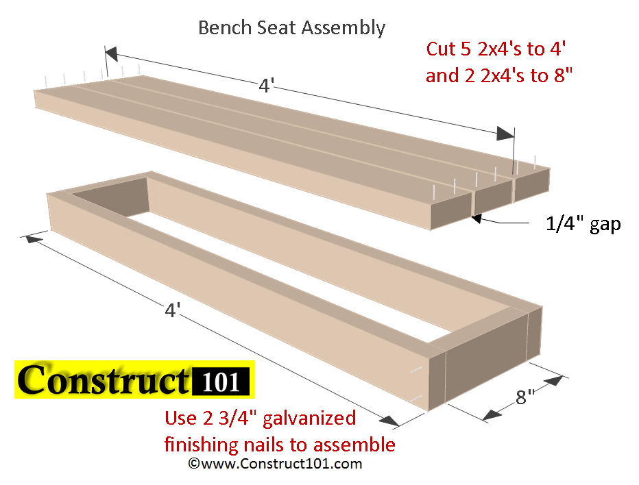 Planter Bench Plans Built with 2x4's (free PDF) - Construct101