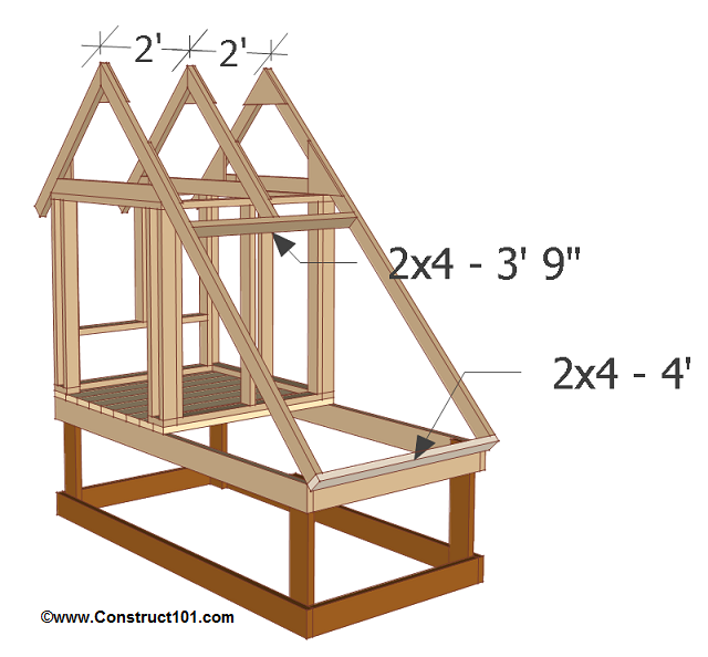 chicken coop plans design 1 truss installed