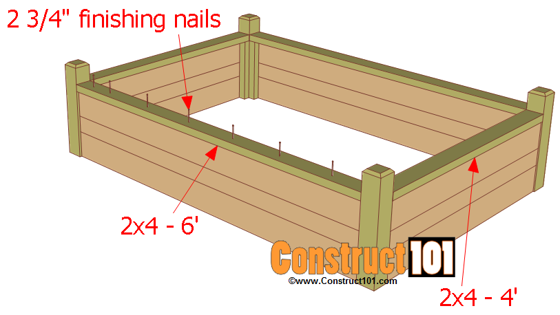 Raised garden bed plans with bench construct101 for Raised bed garden layout