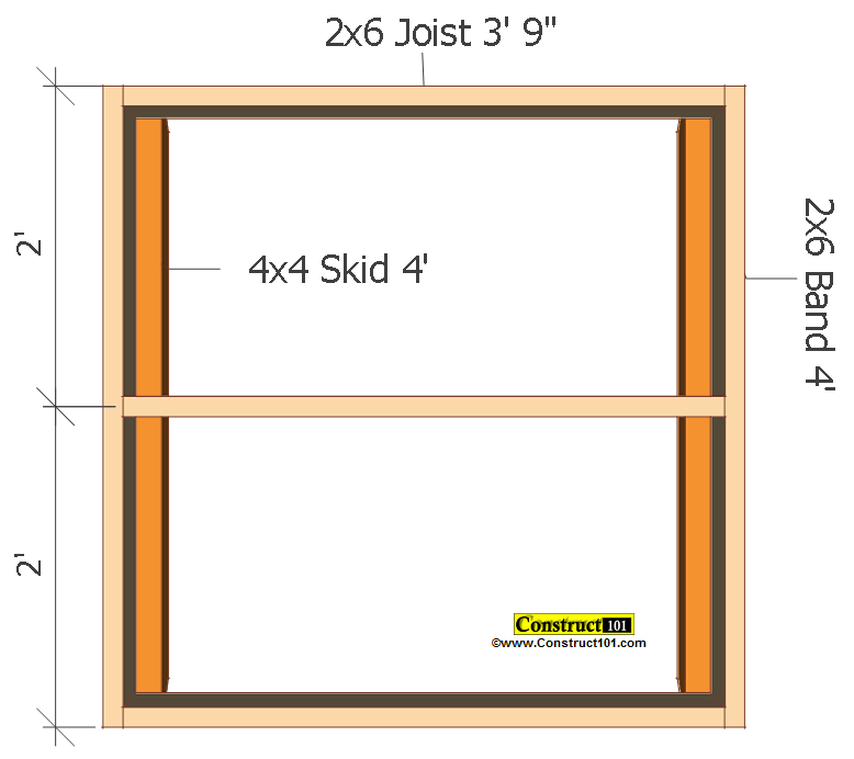 small shed plans 4'x4' gable floor frame