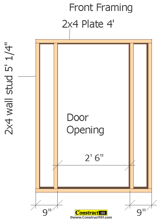 small shed plans 4'x4' gable shed front framing