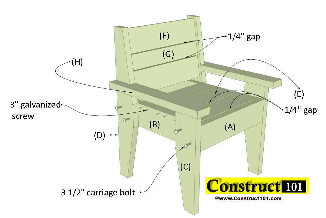 outdoor chair plans material list  sc 1 st  Construct101 : step chair plans - Cheerinfomania.Com