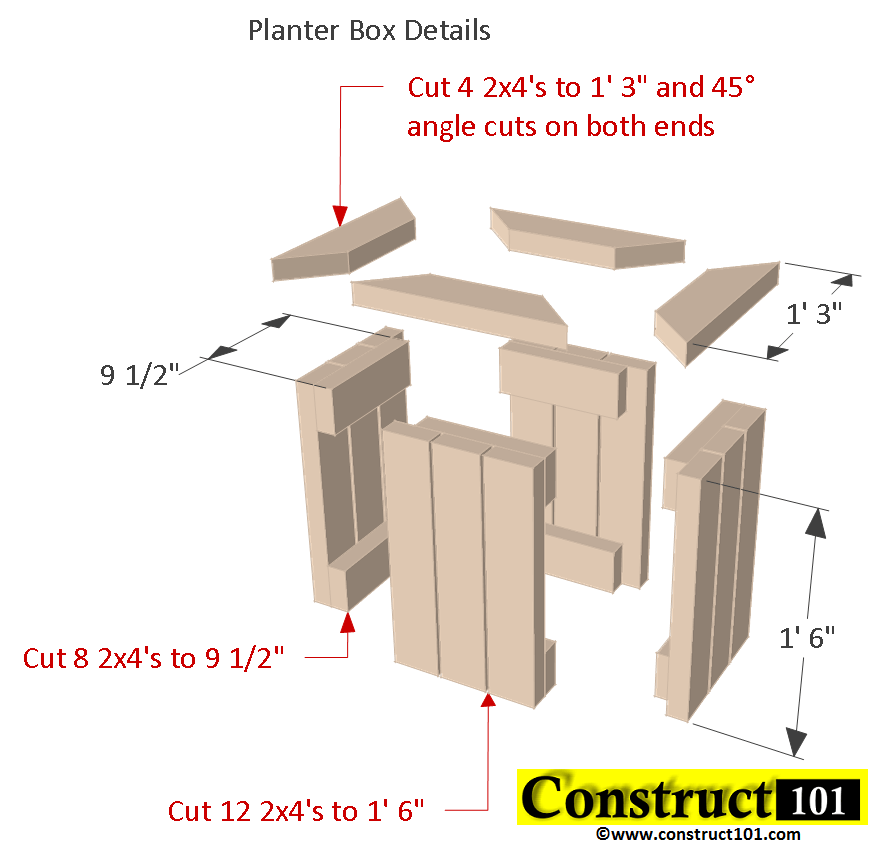 2x4 planter bench box details