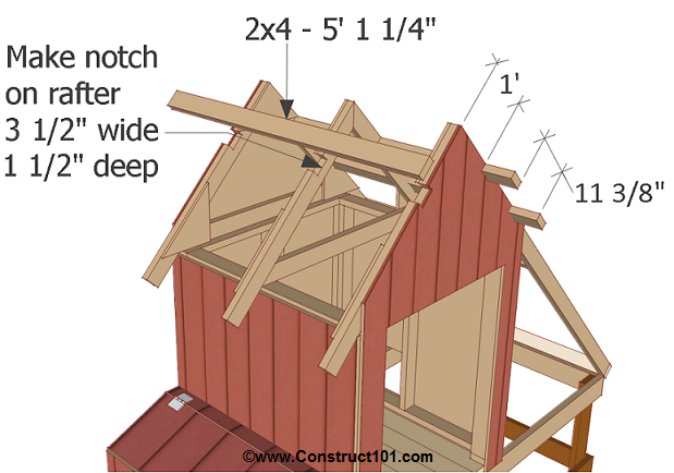 chicken coop plans design 1 notch rafters