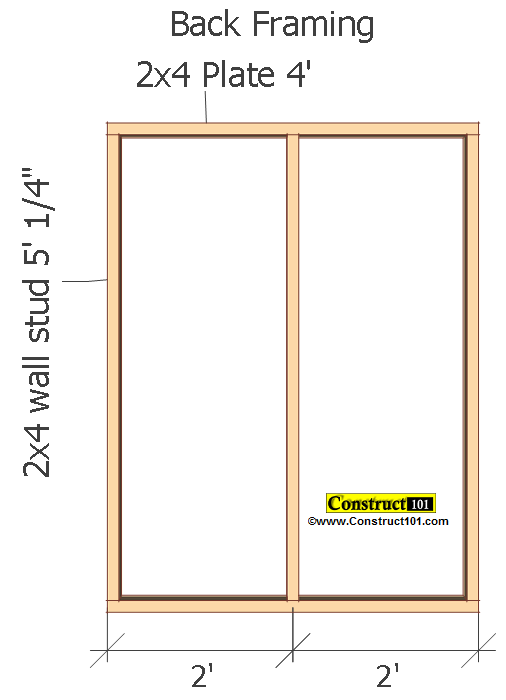 small shed plans 4'x4' gable shed back framing