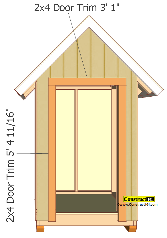 small shed plans 4'x4' gable shed outer door trim
