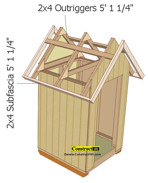 small shed plans 4'x4' gable shed subfascia and outrigger