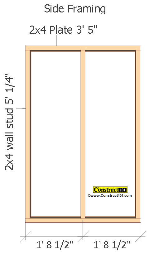small shed plans 4'x4' gable shed side framing